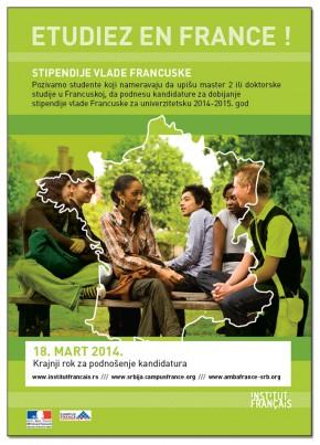 Konkurs za dodelu stipendija za studije u Francuskoj