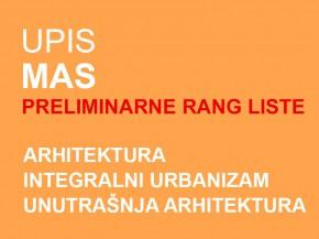 Upis u prvu godinu MAS 2014/15: PRELIMINARNE RANG LISTE (ažurirano)