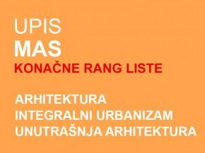Upis u prvu godinu MAS 2014/15: KONAČNE RANG LISTE
