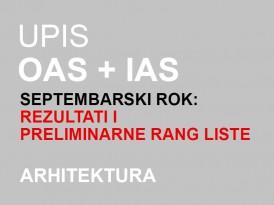 Upis OAS i IAS Arhitektura 2014/15 – septembarski rok: PRELIMINARNI REZULTATI