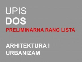 Упис у прву годину ДОСА 2014/15: Прелиминарна ранг листа и термински план уписа