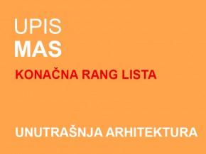 Upis u prvu godinu MUA 2014/15: Drugi upisni rok – KONAČNA RANG LISTA