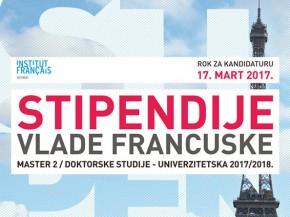 Konkurs: Stipendije Vlade Francuske za 2017/18. godinu