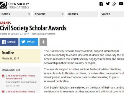 Конкурс Фондације за отворено друштво: стипендије Civil Society Scholar Awards 2017/18