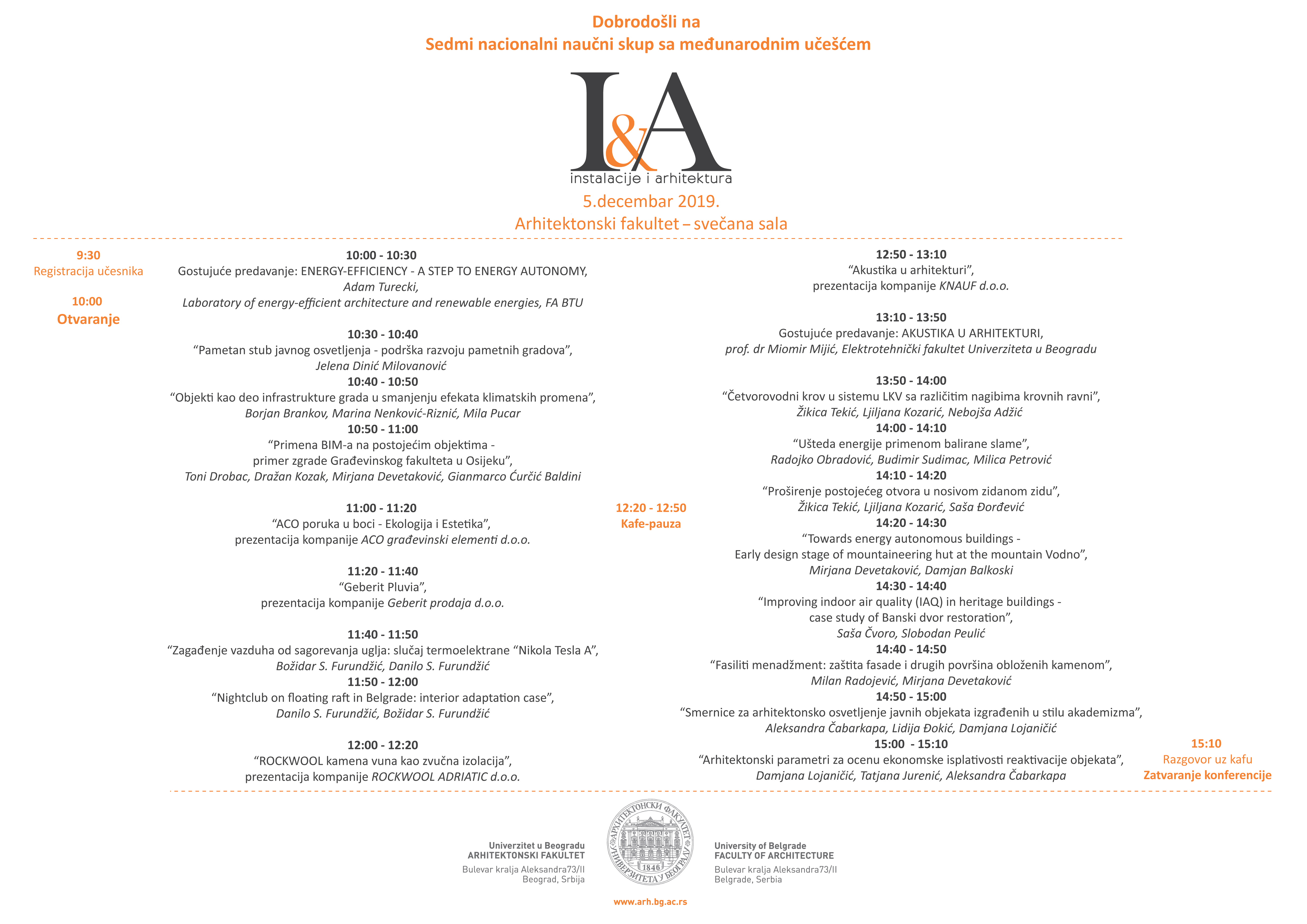 Program konferencije IA2019