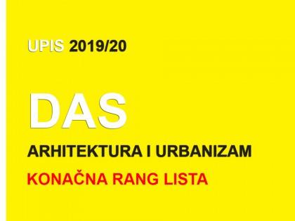 Докторскe академскe студиje – Архитектура и урбанизам 2019/20 – коначна ранг листа