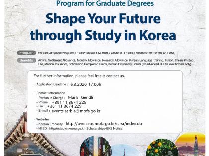 2020 Global Korea Scholarship: Stipendija Vlade Republike Koreje za postdiplomske studije (master ili doktorske)