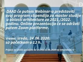 DAAD stipendije u oblasti arhitekture – WEBINAR