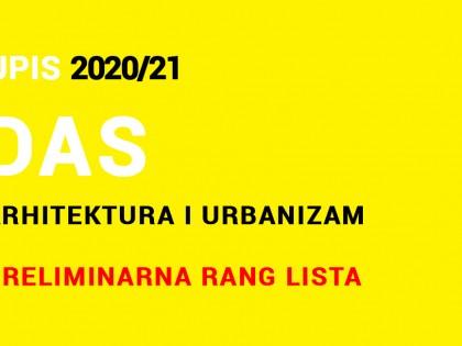 Doktorske akademske studije 2020/21 – PRIJEMNI ISPIT – Preliminarna rang lista