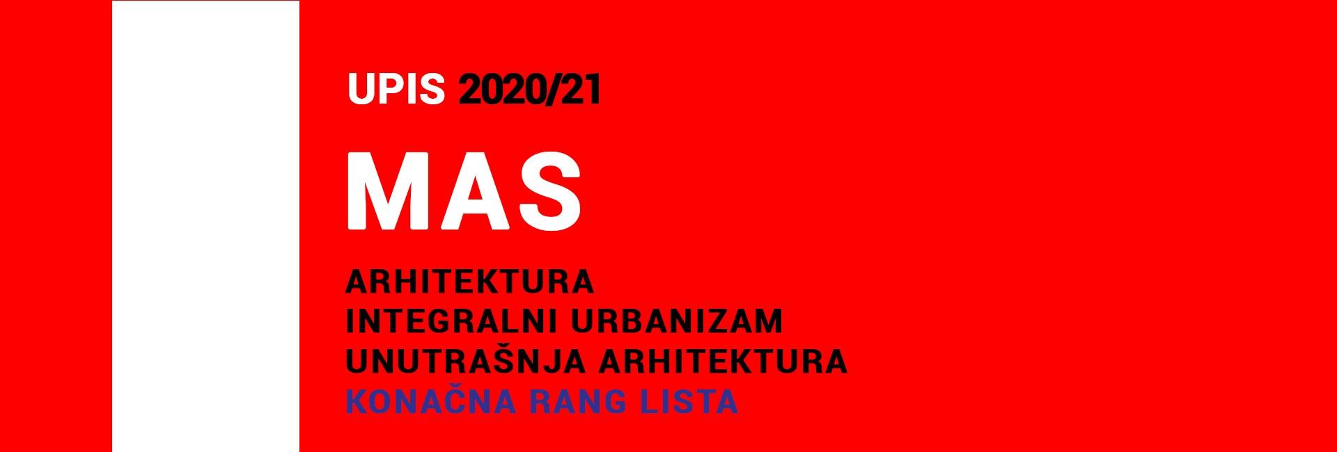 МАС 2020/21 упис – КОНАЧНЕ РАНГ ЛИСТЕ