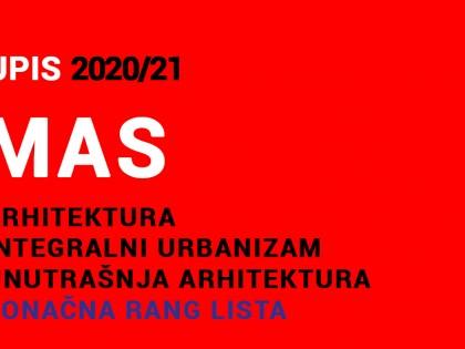 MAS 2020/21 upis – KONAČNE RANG LISTE