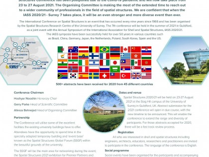 Najava međunarodnog skupa Inspiring the next generation  – IASS 2020/21 Annual Symposium and SURREY 7 International Conference on Spatial Structures