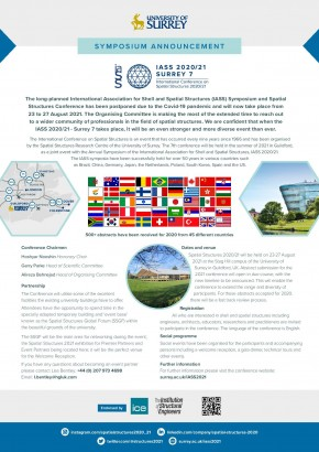 International symposium announcement Inspiring the next generation  – IASS 2020/21 Annual Symposium and SURREY 7 International Conference on Spatial Structures