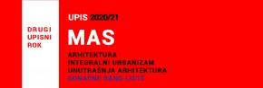 MAS 2020/21 drugi upisni rok: ZAVRŠEN UPIS