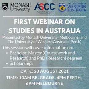Australijsko-srpska privredna komora (ASCC) organizuje PRVI BESPLATAN webinar (onlajn seminar) o studijama u Australiji