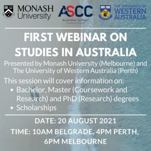 Аустралијско-српска привредна комора (ASCC) организује ПРВИ БЕСПЛАТАН webinar (онлајн семинар) о студијама у Аустралији